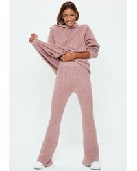 Missguided - Pink Ribbed Knitted Co Ord Trousers - Lyst