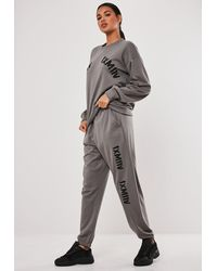 Missguided Grey Graphic Front Oversized Joggers - Gray