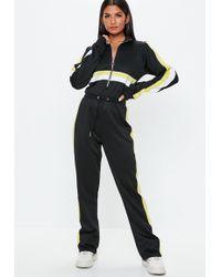Missguided - Black Colour Block Track Jumpsuit - Lyst