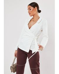 Missguided White Cotton Wrap Front Shirt