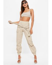 Missguided - Sand Tie Waist Utility Trousers - Lyst