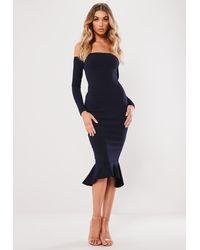 Missguided Navy Bardot Fishtail Bodycon Dress - Blue