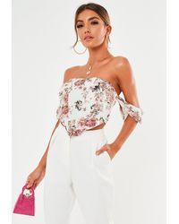 Missguided Rose Print Bardot Corset Top - White