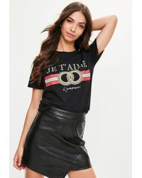 Missguided - Black Je T'aime Oversized T-shirt - Lyst