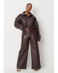 Missguided Lipscombe X Plus Size Black Faux Leather Wide Leg Trousers - Brown