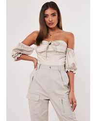 Missguided Jordan Lipscombe X Champagne Corset Bust Cup Milkmaid Crop Top - Multicolour