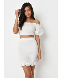 Missguided - Co Ord Shirred Puff Sleeve Crop Top - Lyst