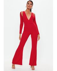 4cd24841d2 Missguided - Red Long Sleeve Cut Out Jumpsuit - Lyst