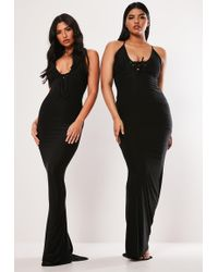 Missguided Plus Size Black Lace Up Slinky Maxi Dress