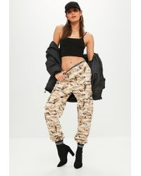 Missguided - Premium Beige Camo Printed Cargo Trousers - Lyst