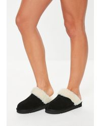 Missguided Black Real Sheepskin Slippers