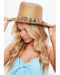 Missguided - Brown Fringe Frayed Straw Hat - Lyst