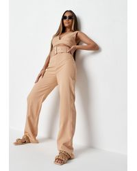 Missguided Childs Edit Tall Beige Co Ord Belted Wide Leg Trousers - Natural