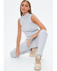 Missguided - Gray Ribbed Roll Neck Jumpsuit - Lyst