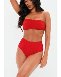 Missguided - Red Crinkle Mix And Match High Waist Bikini Briefs - Lyst