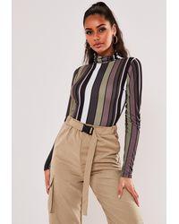Missguided Vertical Stripe Funnel Neck Bodysuit - Green