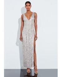 Missguided Silver Plunge Embellished Split Maxi Dress - Metallic