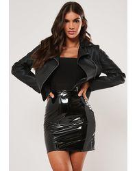 Missguided Tall Black Vinyl Mini Skirt