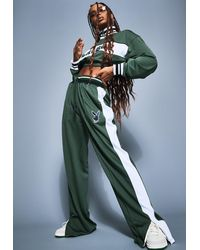 Missguided X Green Varsity Wide Leg Tricot Tracksuit Pants