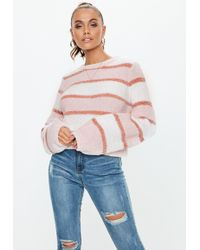 c0bf4cd17f0 Missguided Pink Disc Sequin Fluffy Cropped Jumper in Pink - Lyst