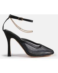 Missguided Square Toe Fishnet Heels - Black