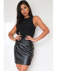 Missguided Faux Leather Stud Buckle Mini Skirt - Black