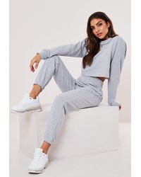Missguided Grey Cropped Sweatshirt And Joggers Co Ord Set