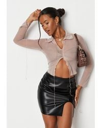 Missguided Black Curved Side Split Faux Leather Mini Skirt