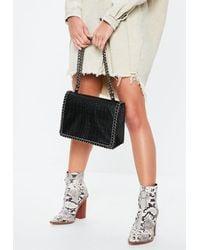 Missguided Black Faux Leather Croc Chain Bag