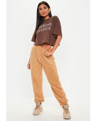 Missguided - Camel Teddy Joggers - Lyst