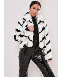 Missguided Monochrome Chevron Faux Fur Coat - White