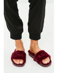 Missguided Burgundy Faux Fur Embroidered Sliders - Black