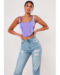 Missguided Lilac Satin Corset Top - Purple
