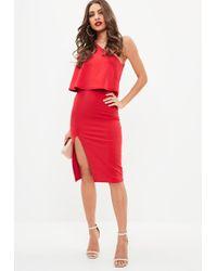 Missguided Red Crepe One Shoulder Overlay Split Midi Dress