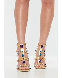 Missguided - Gold Multi Jewelled Heeled Sandals - Lyst