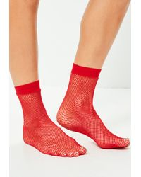 Missguided | Red Fine Fishnet Socks | Lyst