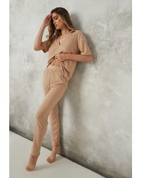 Missguided Rib Polo Loungewear Set - Natural