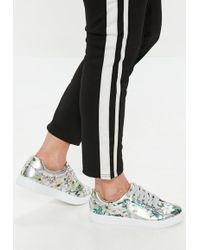 Missguided - Silver Metallic Floral Lace Up Sneakers - Lyst