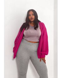 Missguided Plus Size Batwing Oversized Knit Cardigan - Pink