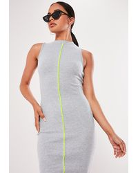 Missguided Grey Ribbed Contrast Piping Midaxi Dress - Gray