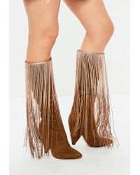 Missguided - Brown Cone Heel Tassel Boots - Lyst