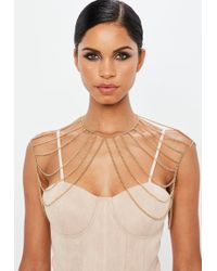 Missguided - Gold Look Multi Chain Shoulder Drape - Lyst