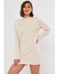 Missguided Stone Basic Long Sleeve T Shirt Dress - Natural