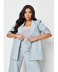 Missguided Size Blue Co Ord Tailored Boyfriend Blazer