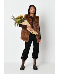 Missguided Pelted Faux Fur Gilet - Brown