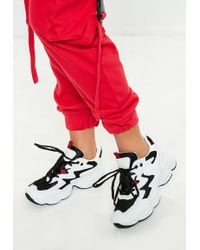 Missguided - White Zig Zag Detail Chunky Sole Trainer - Lyst