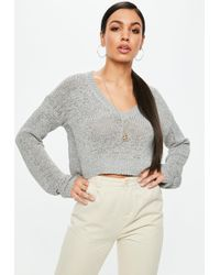 Missguided - Grey Plunge Cropped Jumper - Lyst