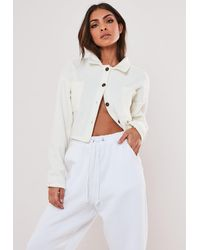 Missguided Cream Fleece Button Crop Top - Multicolour