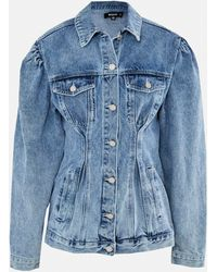 Missguided Blue Cinched Waist Puff Sleeve Denim Jacket