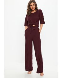 Missguided Burgundy Ribbed Wide Leg Loungewear Set - Purple